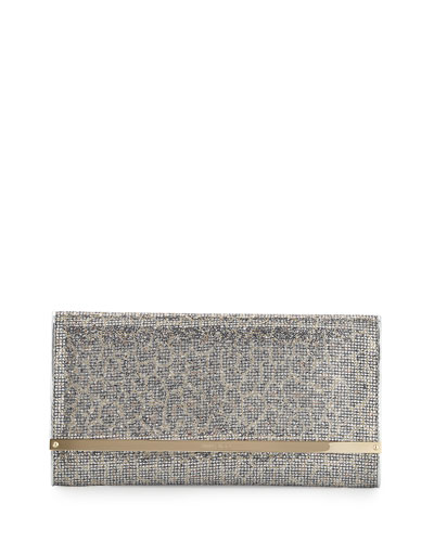 Maia Large Leopard-Print Glitter Clutch Bag