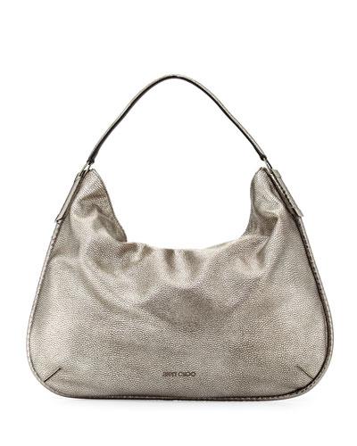 Zoe Large Metallic Hobo Bag, Gunmetal