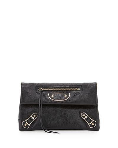 Metallic Edge Classic Envelope Clutch Bag, Black