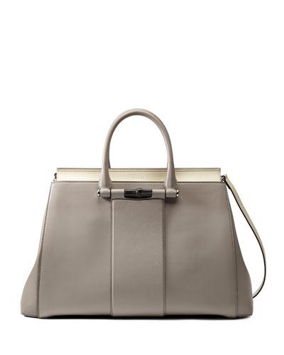 Lady Two Tone Tote Bag, Gray/White