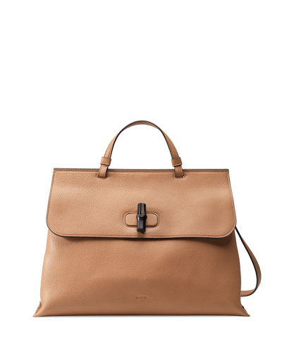 Bamboo Daily Leather Top Handle Bag, Beige