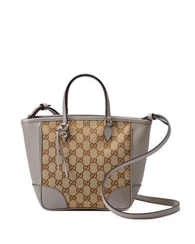 Bree Guccissima Small Canvas Top Handle Bag, Beige/Ebony