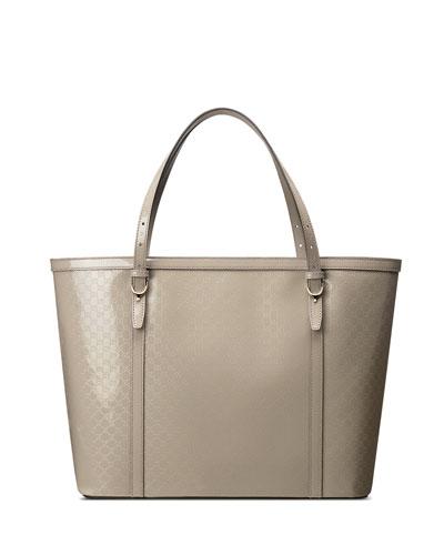 Nice Microguccissima Patent Leather Tote, Light Grey
