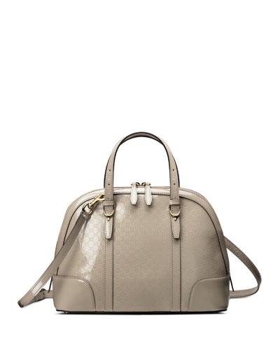 Nice Microguccissima Patent Leather Top Handle Bag, Light Grey