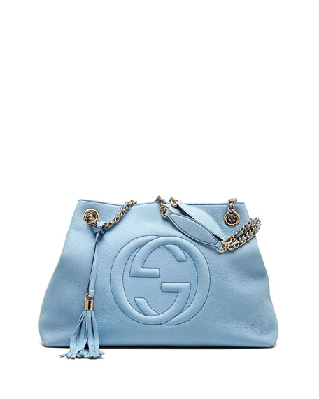 149d8580c2a3 Gucci Soho Nubuck Leather Medium Chain-Strap Tote Bag, Light Blue