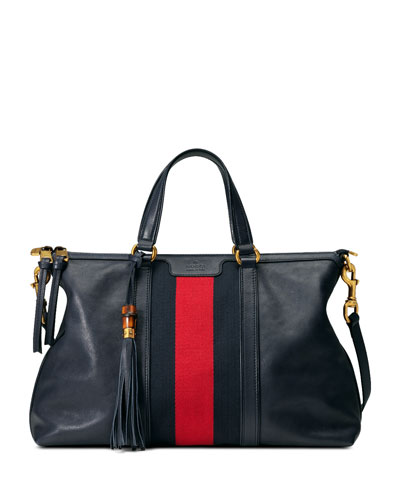 Rania Medium Stripe Tote, Navy/Red