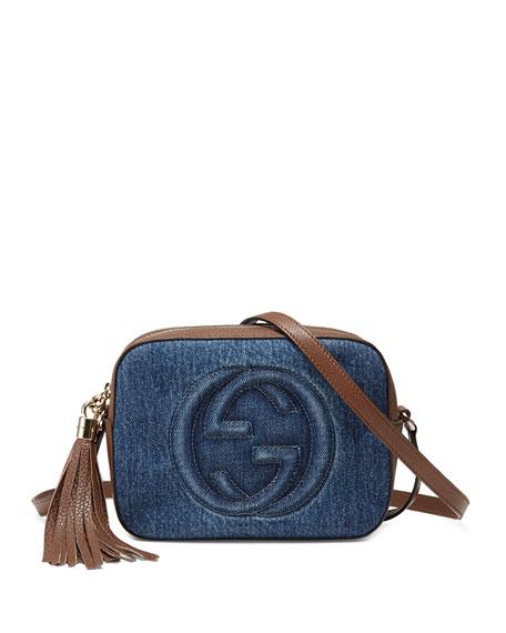 b6d63d8f5 Gucci Soho Small Denim Shoulder Bag, Denim/Brown
