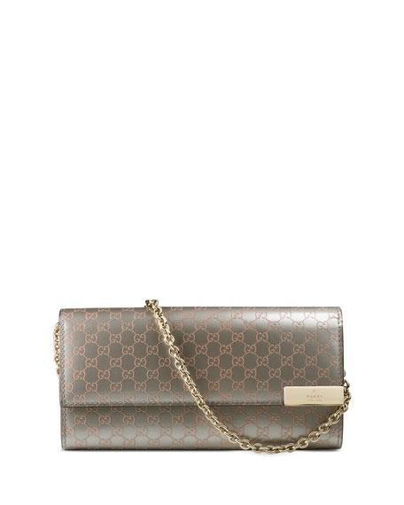 82e18b7b6d0bab Gucci Dice Shiny Microguccissima Leather Chain Wallet, Gray/Light Pink