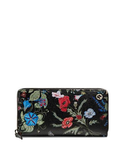Floral-Print Zip Around Wallet, Black