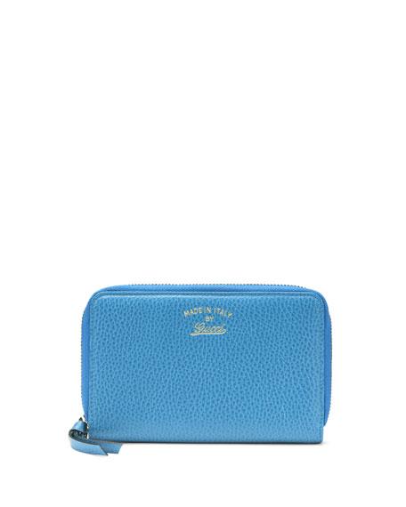 c86fe3db759525 Gucci Swing Leather Mini Zip Around Wallet, Light Blue