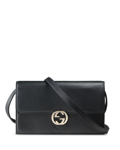 Icon Leather Wallet with Strap, Black