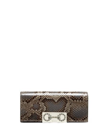 a148bedd41f553 Gucci Broadway Python Crystal Horsebit Clutch Bag