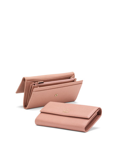 Swing Leather Continental Wallet, Light Pink