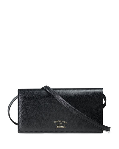 Swing Leather Wallet with Strap, Black