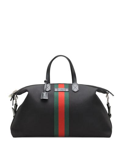 Techno Canvas Duffle Carry-On Bag, Black