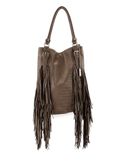 Crazyheart Croco Fringe Shoulder Bag