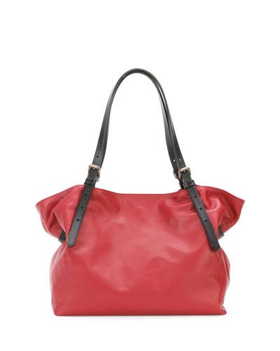 Calfskin Buckled Shoulder Bag, Blood/Black