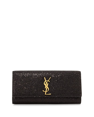 Monogramme Glitter Clutch Bag, Black