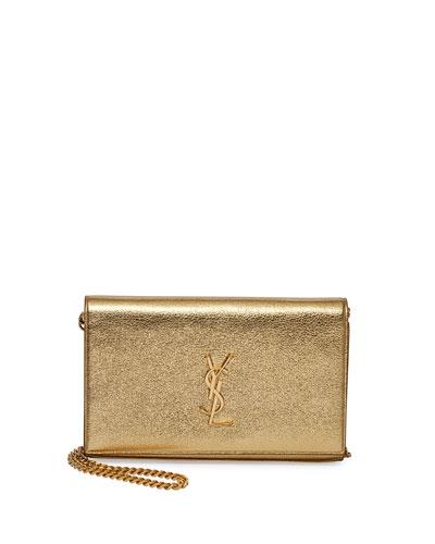 Monogramme Metallic Chain Wallet, Gold