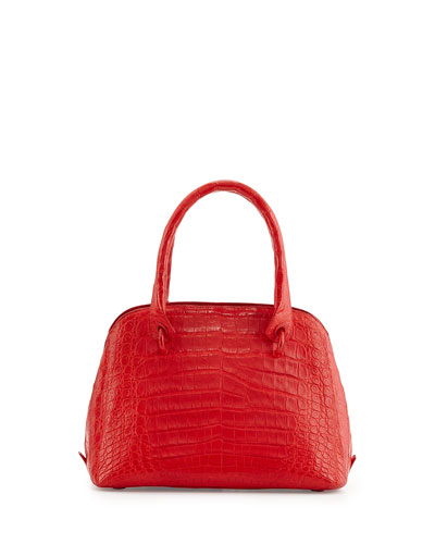 Small Dome Crocodile Satchel Bag, Red Matte