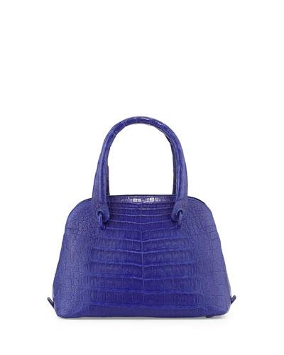 Crocodile Small Dome Satchel Bag, Cobalt Blue