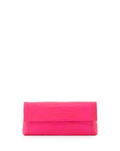 Crocodile Flap-Top Clutch Bag, Neon Pink