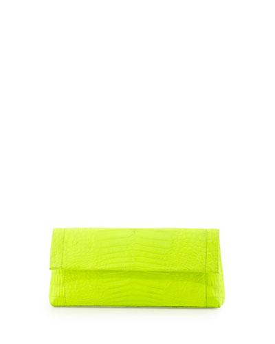 Crocodile Flap-Top Clutch Bag, Neon Yellow