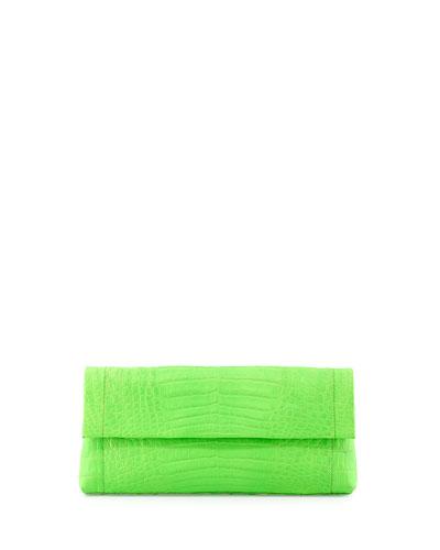 Crocodile Flap-Top Clutch Bag, Neon Green
