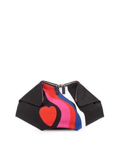 De-Manta Heart-Print Clutch Bag, Black Multi