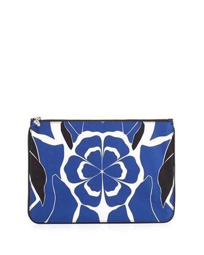 Floral-Print Skull Zip Pouch, Black/Blue/White