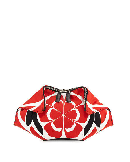 4a478ebdb Alexander McQueen Small De-Manta Floral-Print Clutch Bag, Red/Black/White