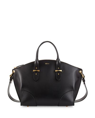 Legend Leather Zip Satchel Bag, Black
