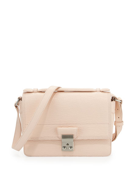 Pashli Mini Leather Messenger Bag White Peach