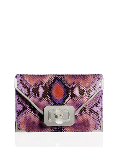 Valentina Python Envelope Clutch Bag, Purple