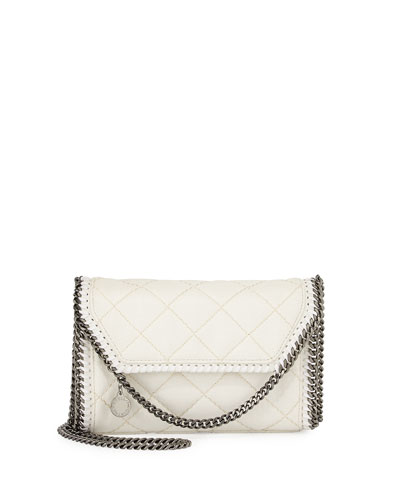 Falabella Quilted Mini Flap Shoulder Bag, White
