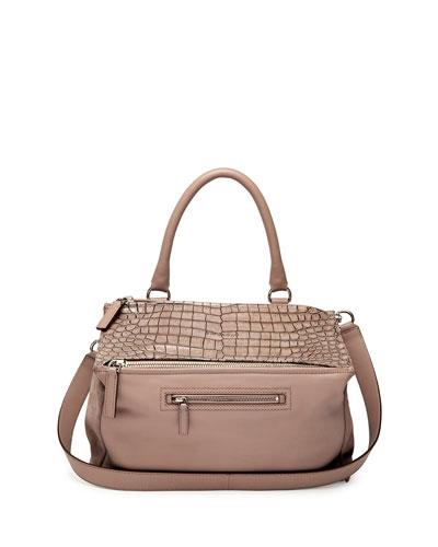 Pandora Medium Stamped Crocodile Shoulder Bag, Linen