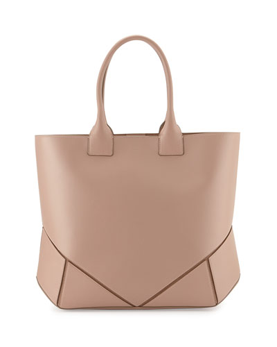 Easy Medium Leather Tote Bag, Pale Pink