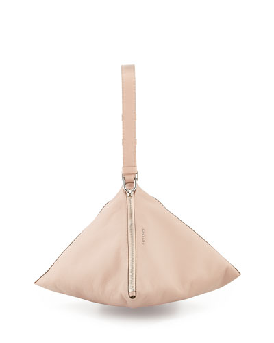 Triangle Large Grained Calfskin Wristlet, Pale Pink