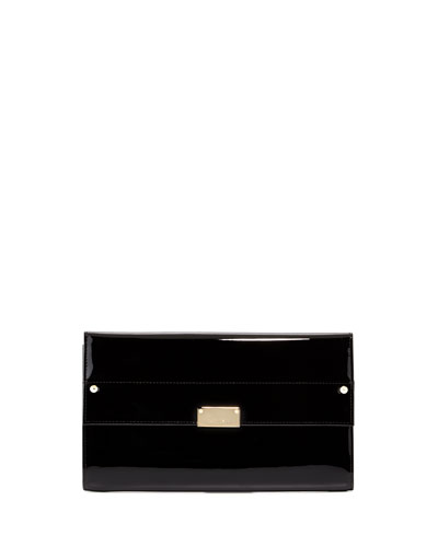 Reese Large Patent Clutch Bag, Black