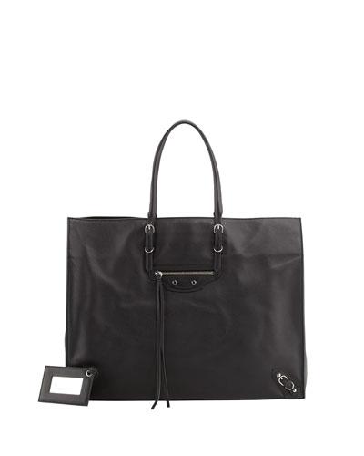 Papier A4 Leather Tote Bag, Black