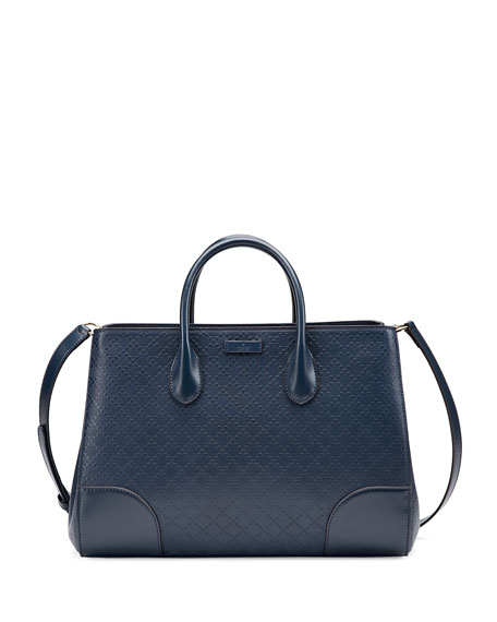 65d0780a877856 Gucci Diamante Leather Top Handle Bag, Marine Navy