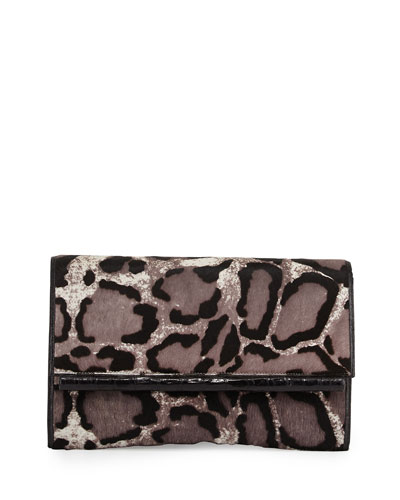 Leopard-Print Calf Hair Bar Clutch Bag, Gray