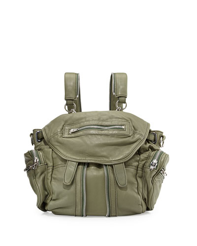 Mini Marti Washed Leather Backpack, Sage