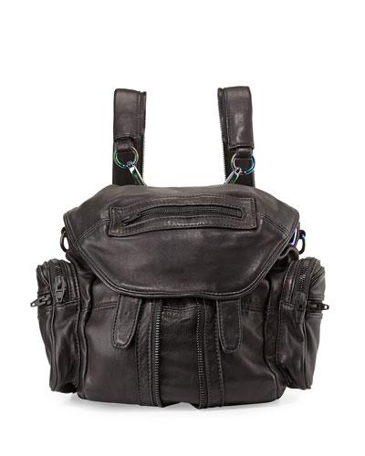 Mini Marti Washed Leather Backpack, Black