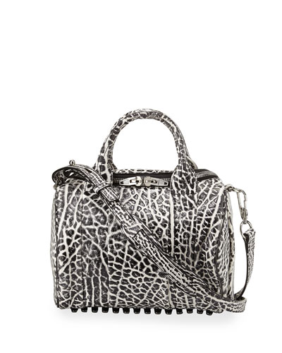 Rockie Dumbo Stud-Bottom Satchel Bag, White/Black