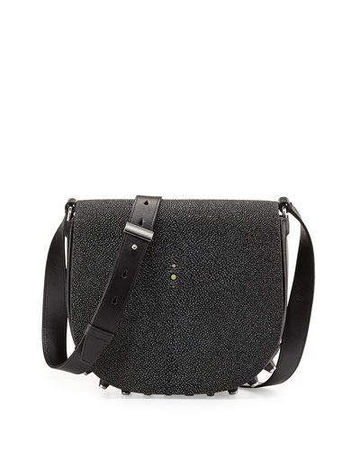 Alpha Lia Stingray Flap Shoulder Bag, Black