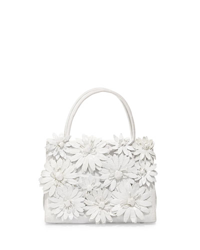 Crocodile Flower Small Top Handle Bag, White