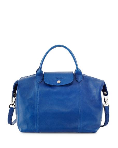 Longchamp Le Pliage Cuir Leather Handbag, Blue e9195131e1