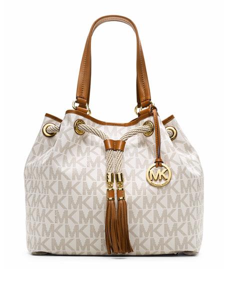 f9301885854f MICHAEL Michael Kors Marina Large Gathered Logo Tote Bag, Vanilla