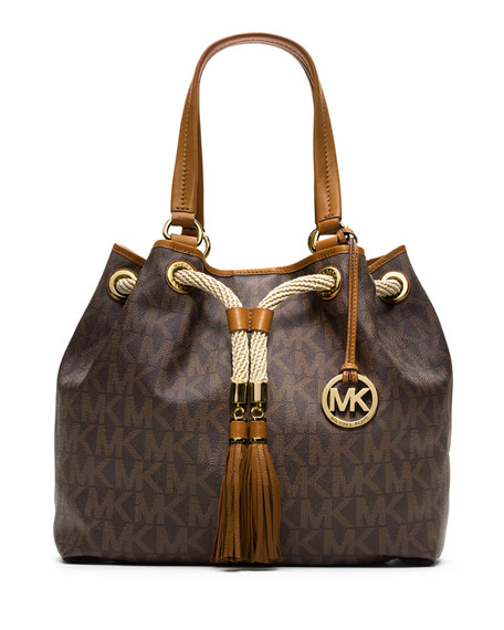 314dbd9acfbac4 MICHAEL Michael Kors Marina Large Gathered Logo Tote Bag, Brown